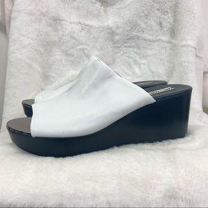 Karl Lagerfeld lyric white mirror wedge sandal